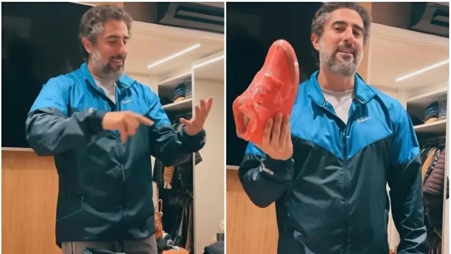 marcos mion mostra tenis que usara quando pisar na globo como funcionario pela primeira vez peca e m - PODEROSO! Marcos Mion escolhe tênis leiloado por 39 milhões de reais para estreia na Globo