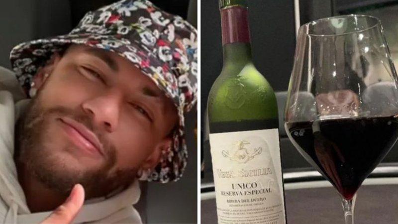 neymar vinho garrafa widelg - Neymar posta foto tomando vinho e preço choca fãs: 'Pagava todos meus boletos'