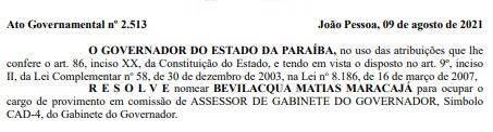 nomeacao - João Azevêdo nomeia irmão do ex-deputado Genival Matias para cargo no governo