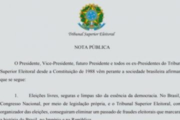 nota 360x240 - Ex-presidentes do TSE desde 1988 e atual cúpula divulgam nota em defesa do modelo de eleições do Brasil