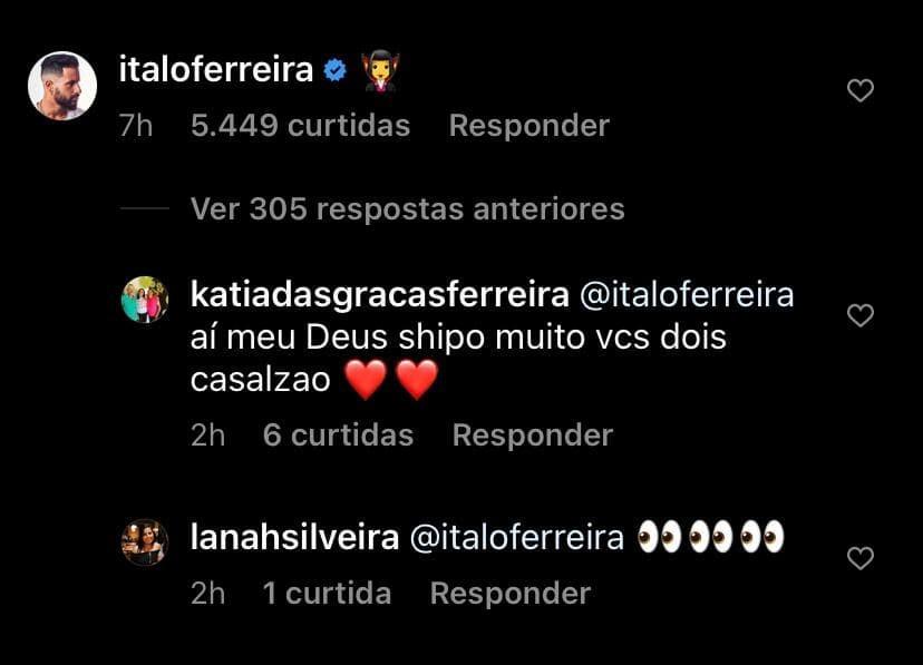 """photo 2021 08 11 19 12 06 - Italo Ferreira deixa comentário em foto de Juliette e fãs shippam: """"Meu casal"""""""