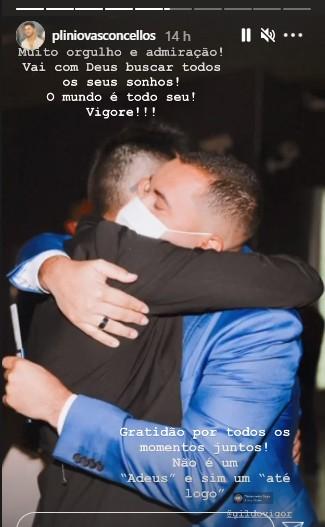 """plinio vasconcellos - Affair de Gil do Vigor se despede do Ex-BBB e faz homenagem: """"Não é um adeus"""" - VEJA"""