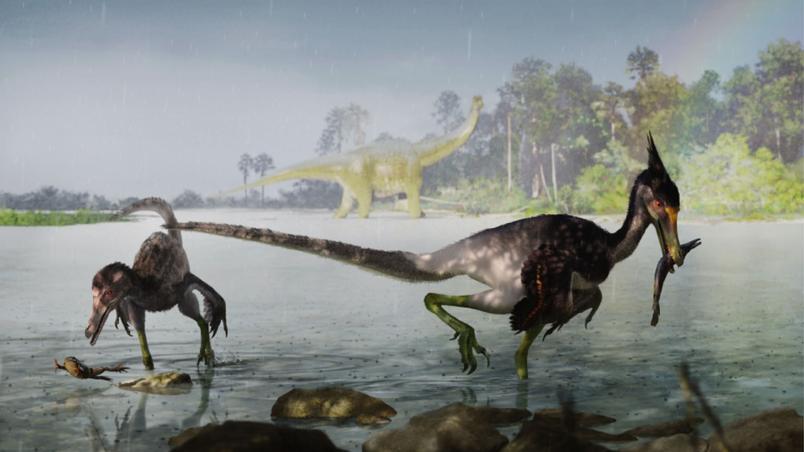 reconstrucao artistica de dois especimes de ypupiara lopai - Cientistas brasileiros descobrem duas novas espécies de dinossauro