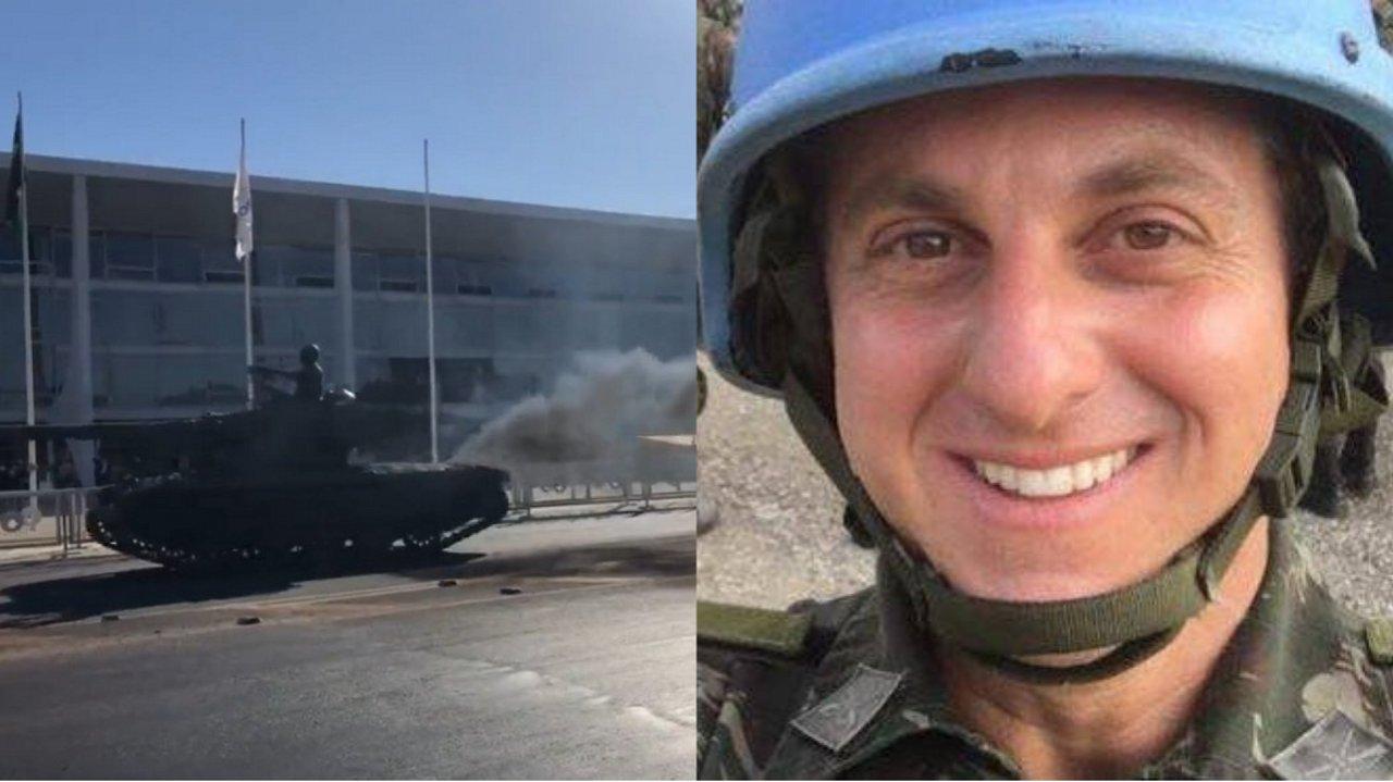 """tanque de guerra brasilia lata velha luciano huck 7568 - Internautas criam memes e convocam Luciano Huck após desfile militar virar """"show de lata velha"""""""