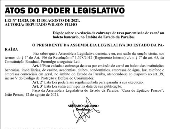 whatsapp image 2021 08 13 at 080246 - Nova lei veda cobrança de taxa por emissão de carnê ou boleto bancário na Paraíba