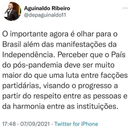 AGUINALDO - Após manifestações, Aguinaldo Ribeiro diz que o Brasil não pode se dividir entre facções partidárias - VEJA