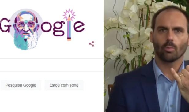 """Captura de tela 2021 09 20 100724 - Google homenageia Paulo Freire e Eduardo Bolsonaro se desespera: """"Próximo é o Lula"""""""
