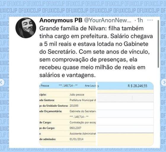 """Capturar.JPGass - Perfil intitulado Anonymous Paraíba divulga dados pessoais de Nilvan Ferreira: """"Não finja ser o que não é"""""""
