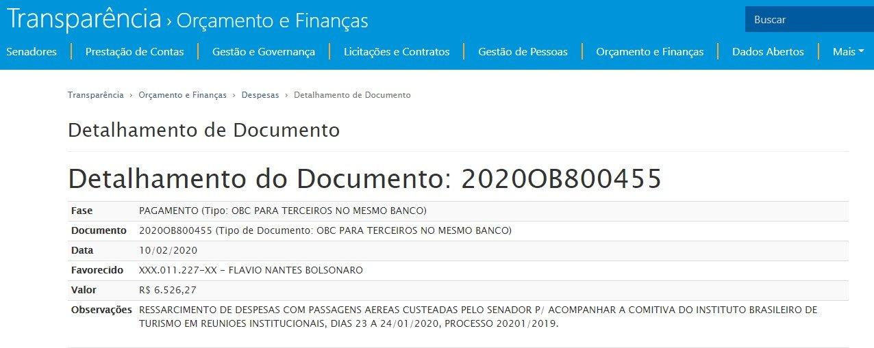 Despesas de Flavio Bolsonaro com viagem a Las Begas - CPI DA COVID: Senado gastou mais de R$ 6 mil reais com passagens de Flávio Bolsonaro para Las Vegas