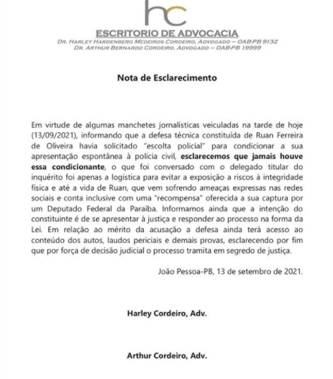 """NOTA ADVOGADOS - Defesa de Ruan Macário nega pedido de escolta e diz que empresário quer se entregar: """"Apenas a logística para evitar exposição"""""""