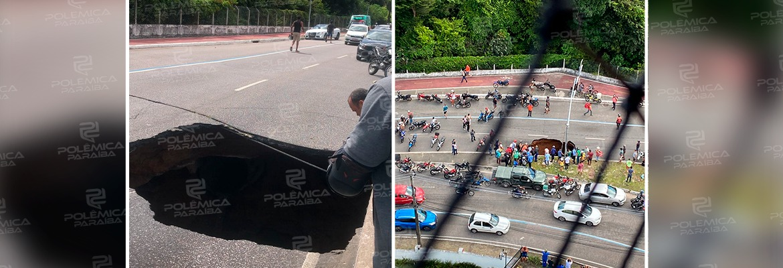 WhatsApp Image 2021 09 03 at 13.42.16 1 - PERIGO: asfalto cede na AV. Pedro II e carro é engolido pela cratera; sentido centro/bairro é bloqueado - VEJA VÍDEO