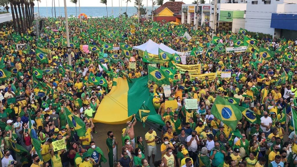 WhatsApp Image 2021 09 07 at 17.32.22 - Manifestantes favoráveis a Bolsonaro se concentram no Busto de Tamandaré, em João Pessoa - VEJA IMAGENS E VÍDEOS
