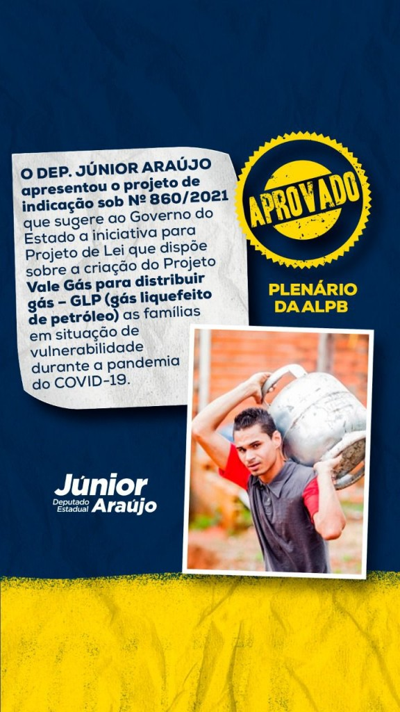 WhatsApp Image 2021 09 15 at 13.32.54 - ALPB aprova projeto de lei de Júnior Araújo que sugere criação do vale-gás para famílias em vulnerabilidade na Paraíba