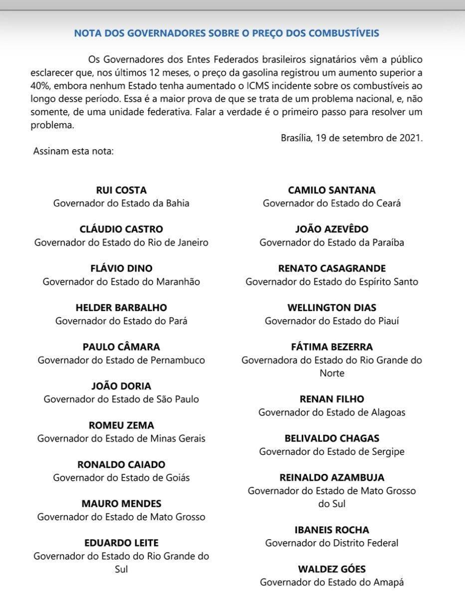 WhatsApp Image 2021 09 20 at 11.18.25 - PROBLEMA NACIONAL: João Azevêdo e mais 19 governadores assinam carta cobrando 'verdade' do governo sobre combustíveis