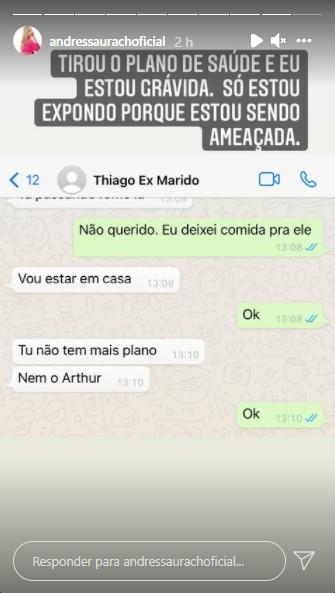 """andressa THIAGO - """"Estou sendo ameaçada"""", diz Andressa Urach ao expor conversas com ex-marido nas redes sociais"""