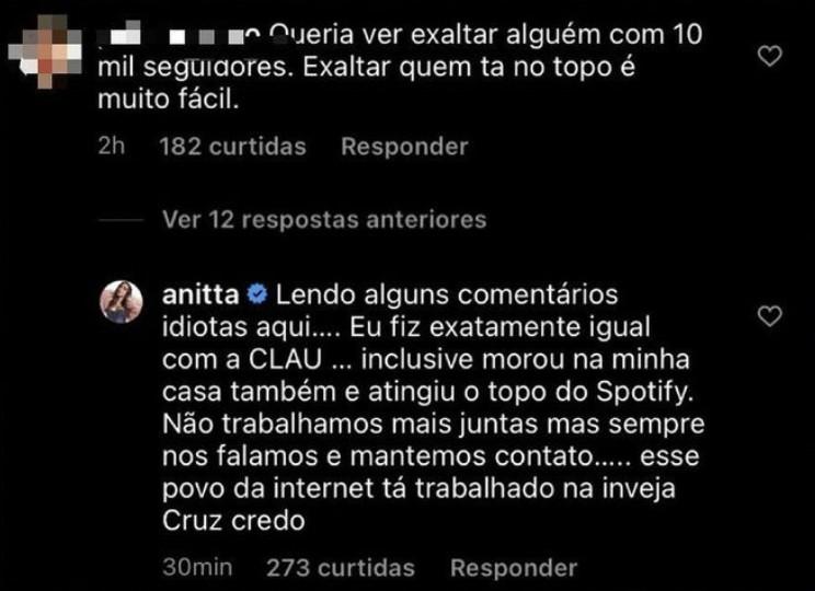 """anitta acusada escorar juliette - Acusada de se escorar no sucesso de Juliette Freire, Anitta rebate críticas: """"Trabalhando na inveja"""""""