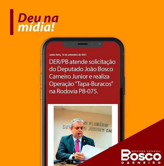 """bosco - DER-PB atende solicitação do deputado Bosco Carneiro e realiza operação """"Tapa-buracos"""" na Rodovia PB-075"""