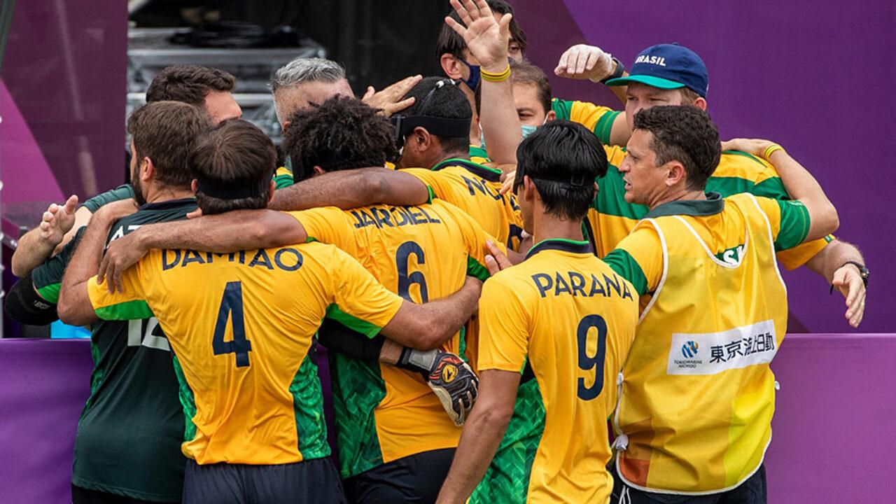 brasil franca futebol 5 comemoracao edit 1280x720 1 - Com paraibanos na equipe, Brasil vence Argentina e conquista o penta paralímpico no futebol de 5