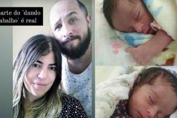 Noivo posa com Bruna Surfistinha e fala dos primeiros dias após o nascimento das gêmeas