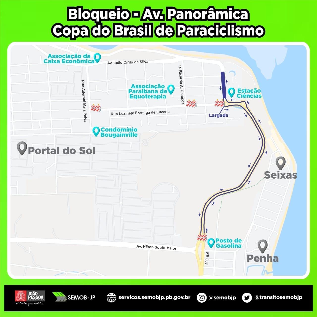 copa do brasil paraciclismo - Semob bloqueia trecho da Av. Panorâmica, em João Pessoa, para realização da Copa Brasil de Paraciclismo