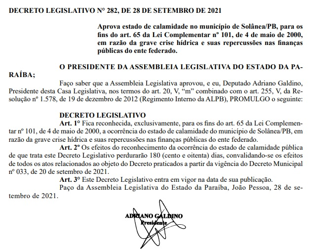 decreto solanea - ALPB decreta estado de calamidade pública em Solânea devido à crise hídrica vivida na cidade