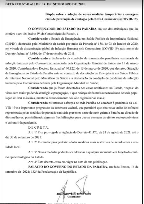 decreto prorrogado - Decreto com medidas restritivas contra Covid-19 é prorrogado por mais 15 dias - CONFIRA