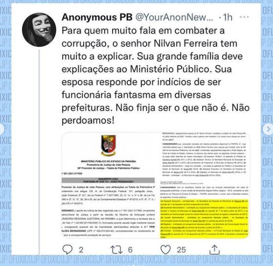 """ff - Perfil intitulado Anonymous Paraíba divulga dados pessoais de Nilvan Ferreira: """"Não finja ser o que não é"""""""