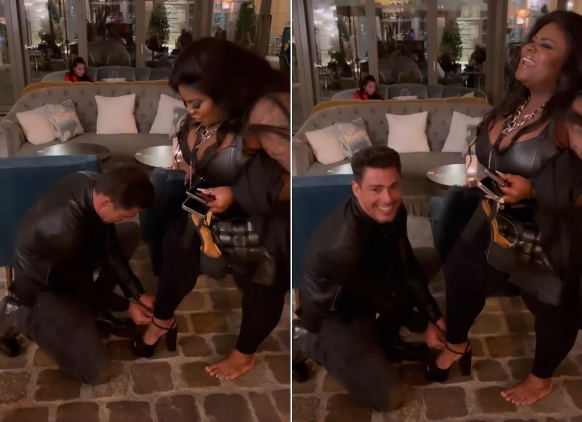 "jojo todynho caua reymond sandalia paris - Em Paris, Jojo Todynho recebe ajuda de Cauã Reymond com sapato: ""Zerei a vida"" - VEJA VÍDEO"
