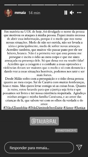 """marcella maia - Atriz da Globo sofre transfobia e diz que é perseguida por agressor: """"Não é a primeira vez"""""""
