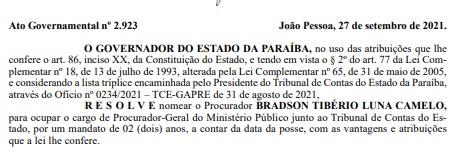 nomeacao bradson - João Azevêdo nomeia Bradson Tibério como Procurador-Geral do MP junto ao TCE