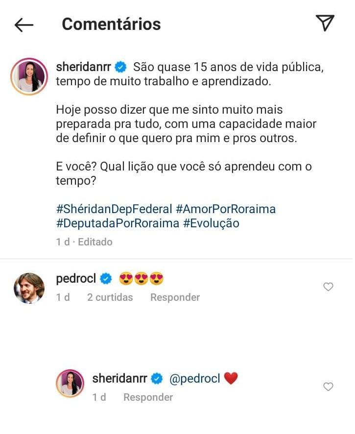 pedroc lima - ROMANCE NO AR?! Pedro Cunha Lima deixa 'carinha apaixonada' em post de parlamentar de Roraima; confira