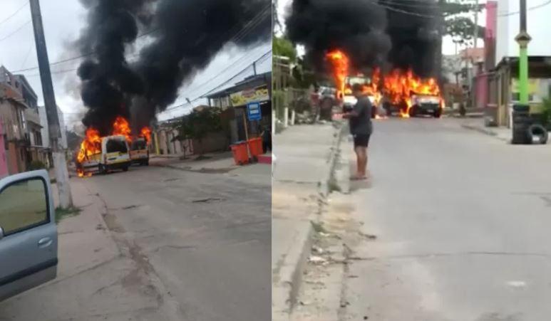 rio - Vans são incendiadas em meio a conflito entre milicianos no RJ
