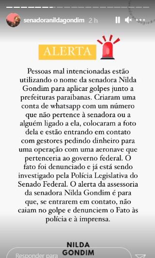 senadora nilda gonsdim - Golpistas usam o nome da senadora Nilda Gondim para pedir dinheiro a prefeitos na Paraíba