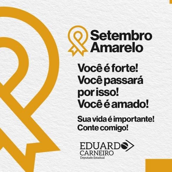 """setem - Eduardo Carneiro abraça campanha do Setembro Amarelo: """"Mais do que nunca é importante estender a mão para quem está ao nosso lado"""""""