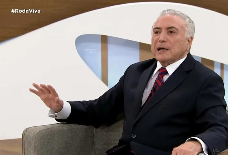 """temer roda viva - Temer avalia que impeachment de Bolsonaro é """"incoveniente"""" e que o presidente não deveria se candidatar em 2022"""