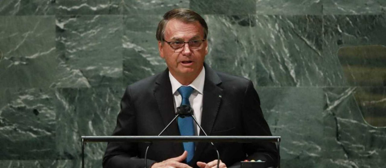 x95361110 Brazils President Jair Bolsonaro addresses the 76th Session of the UN General Assembly.jpg.pagespeed.ic .2gaISiyIl3 scaled - Após fala de Bolsonaro ONU higieniza púlpito e troca microfone para discurso de Biden - VEJA VÍDEO