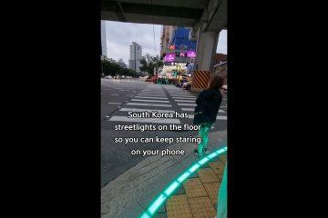 """A MODA PEGA?! Coreia do Sul tem """"semáforo"""" no chão para viciados em celular"""