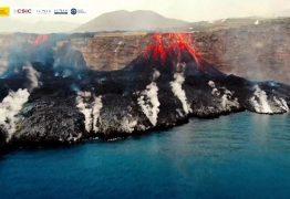 Lavas do vulcão chegam ao oceano; Erupção já dura 17 dias e devastou 400 hectares da ilha La Palma – VEJA VÍDEO