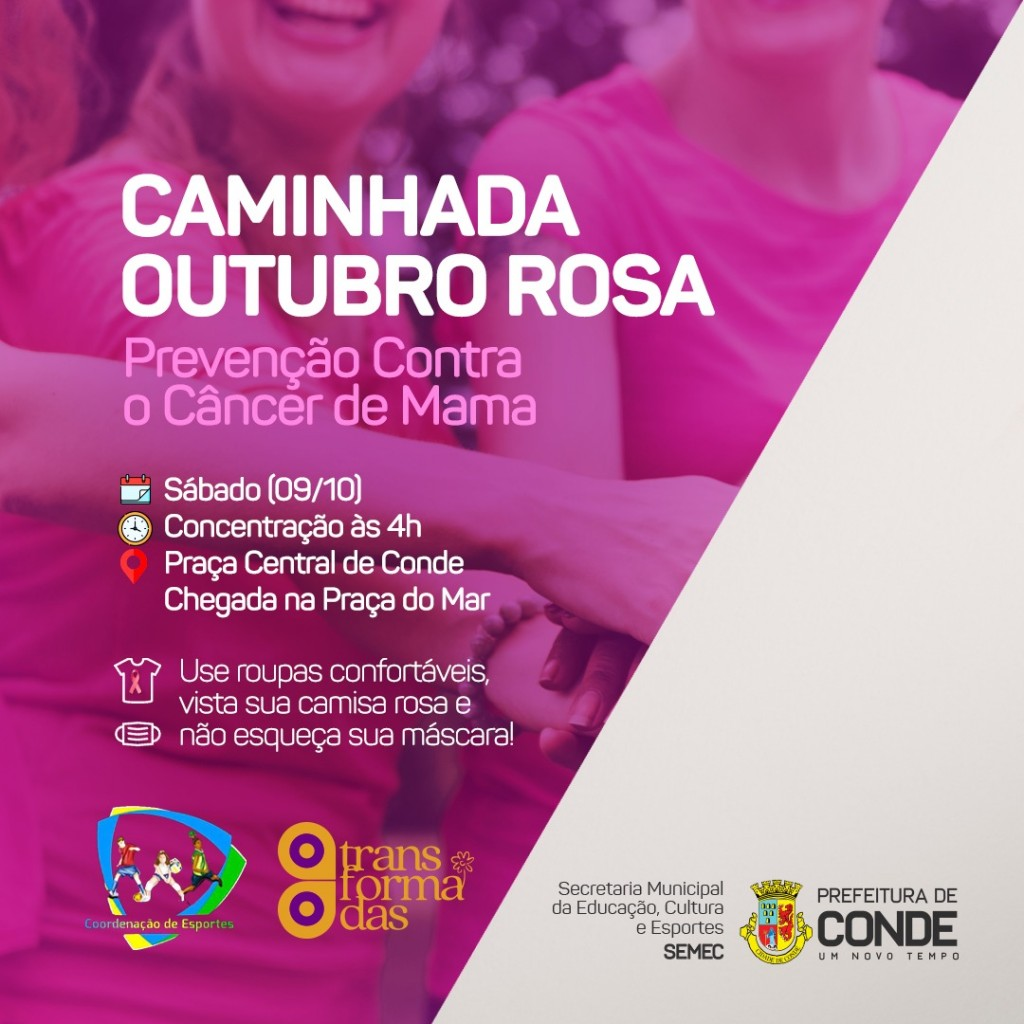 """WhatsApp Image 2021 10 06 at 15.09.31 - """"Outubro Rosa"""": Prefeitura de Conde realiza caminhada de conscientização contra o câncer de mama, neste sábado"""