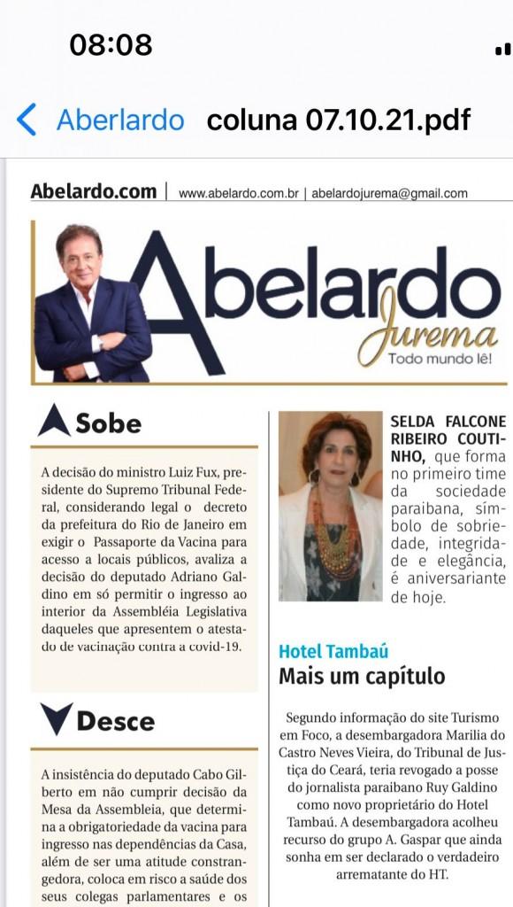 """WhatsApp Image 2021 10 07 at 08.09.47 - Rui Galdino denuncia Fake News de jornalistas paraibanos sobre revogação da posse do Hotel Tambaú: """"Em breve estará reaberto para o mundo"""""""