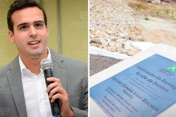 """WhatsApp Image 2021 10 19 at 12.17.56 360x240 - Nome de Lucas Ribeiro não aparece em placa de inauguração de obra em CG; vice-prefeito, no entanto, minimiza """"erro técnico"""": """"Estou tranquilo"""""""