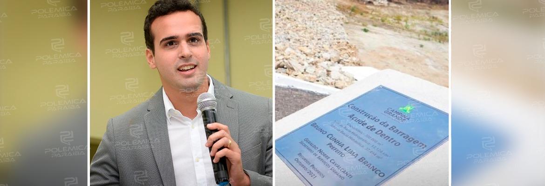 """WhatsApp Image 2021 10 19 at 12.17.56 - Nome de Lucas Ribeiro não aparece em placa de inauguração de obra em CG; vice-prefeito, no entanto, minimiza """"erro técnico"""": """"Estou tranquilo"""""""