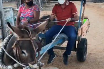 De carroça, Nabor Wanderlei critica preço da gasolina e ironiza: 'melhor pegar carona com minha amiga Florzinha' – VEJA VÍDEO