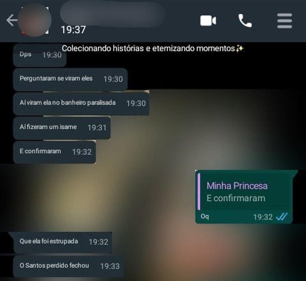 print conversa - Mãe descobre que filha de 9 anos foi abusada ao ler mensagem no WhatsApp